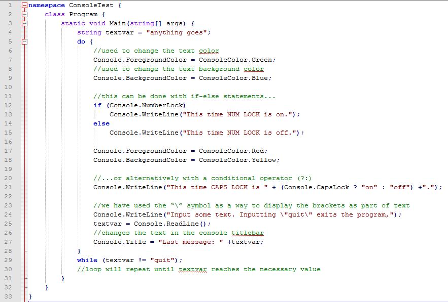 Now we should upgrade the code with a text/background color alteration, as well as the ability to update the titlebar on each loop