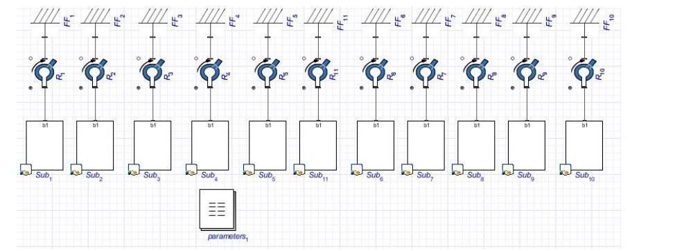 Guideon Pendulum Wave Effect in MapleSim