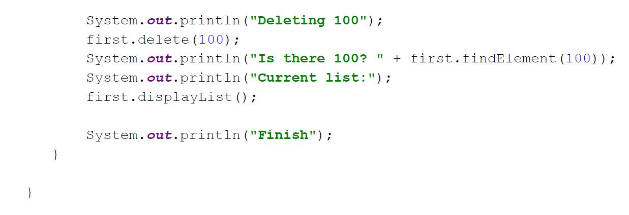 linked list in java example program analyzed