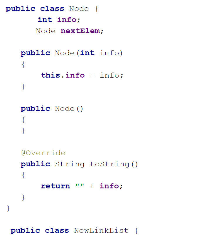 linked list implementation in java example
