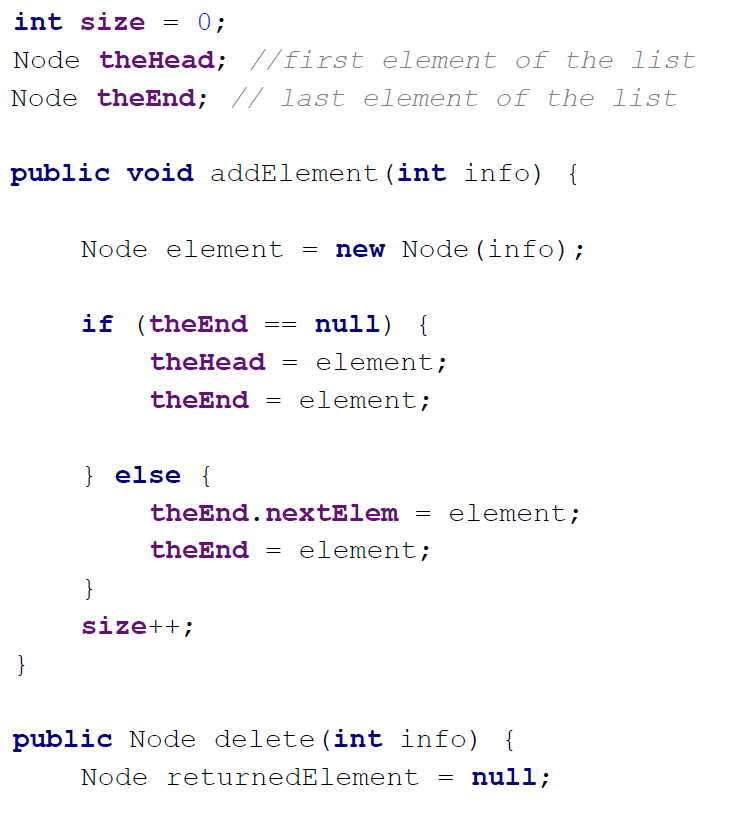 linked list implementation in java sample