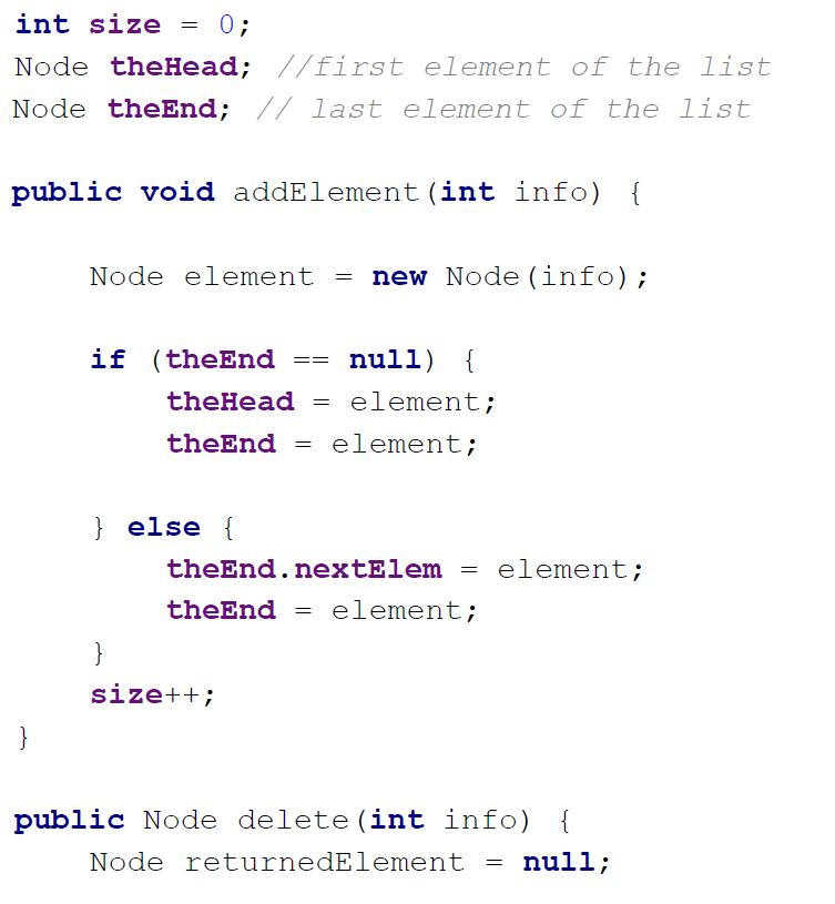 linked list implementation in java sample