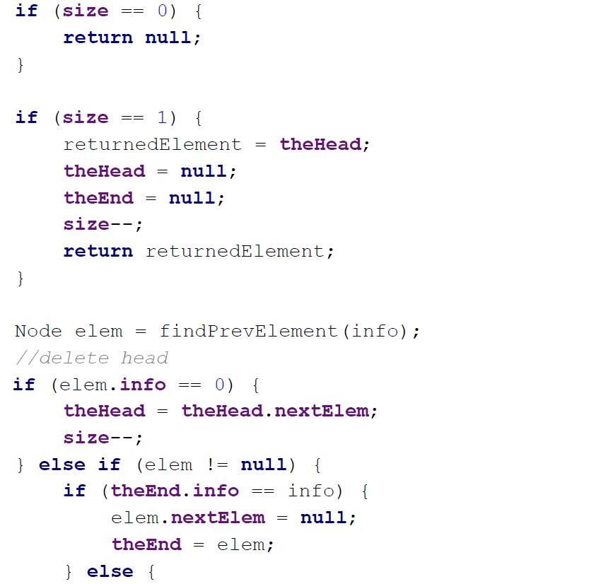 linked list implementation in java task