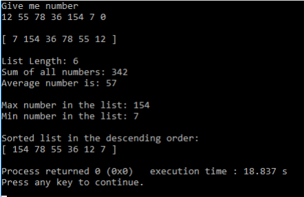 linked lists c++ example task completed