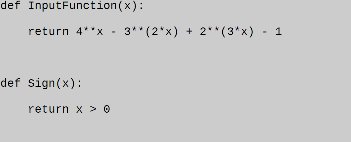 bisection method in python