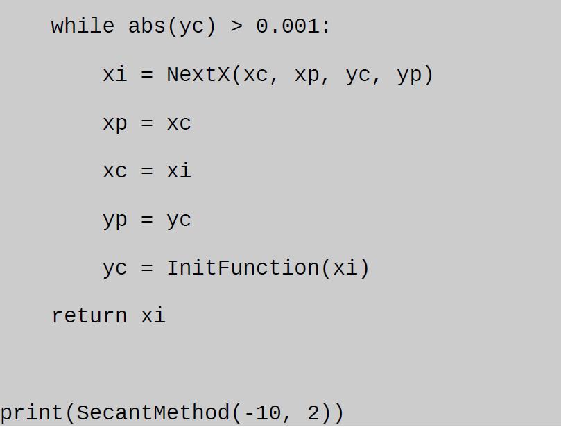 secant method example