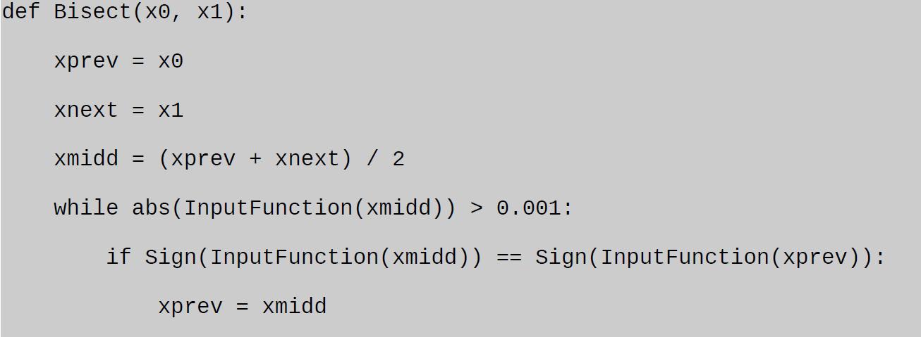 bisection method python task analyzed