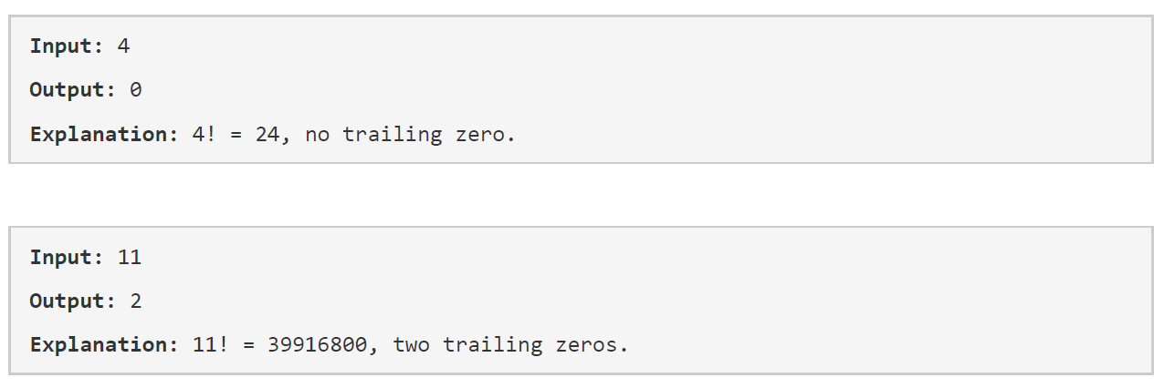 trailing zeros in factorial java